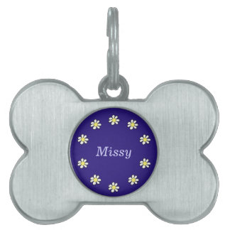 Daisies on a Dark Blue Background Pet Tag