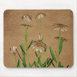 Daisies On Aged Paper Floral Mouse Pad