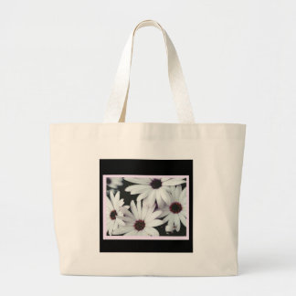 Daisies on Black Background and Pink Accents Large Tote Bag