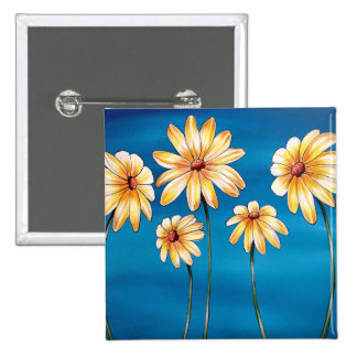 Daisies on Blue Pinback Button