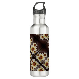 Daisies on brown 710 ml water bottle