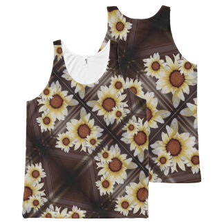 Daisies on brown All-Over-Print tank top