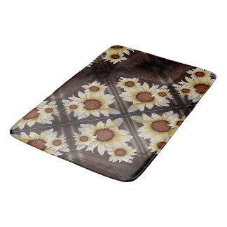 Daisies on brown bath mat