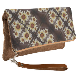 Daisies on brown clutch