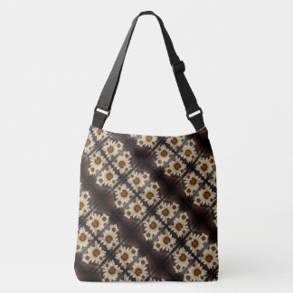 Daisies on brown crossbody bag