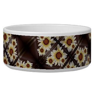 Daisies on brown dog food bowls
