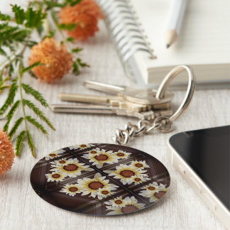 Daisies on brown keychain