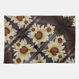 Daisies on brown kitchen towel