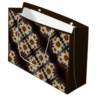 Daisies on brown large gift bag