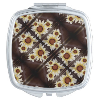Daisies on brown mirror for makeup