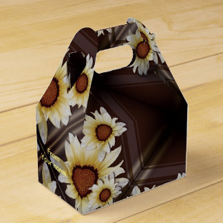 Daisies on brown monogrammed favor box