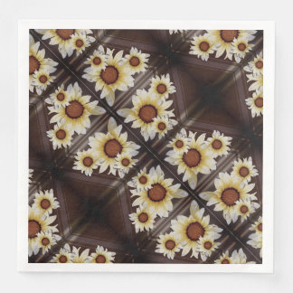 Daisies on brown paper napkins