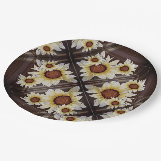 Daisies on brown paper plate