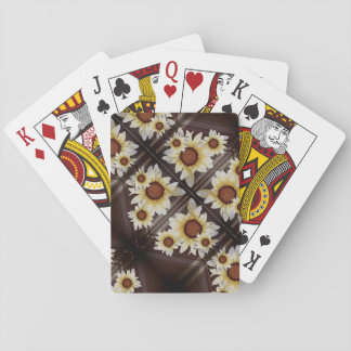 Daisies on brown playing cards
