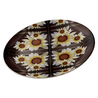 Daisies on brown porcelain plate