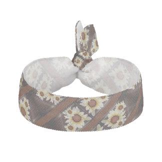 Daisies on brown ribbon hair tie