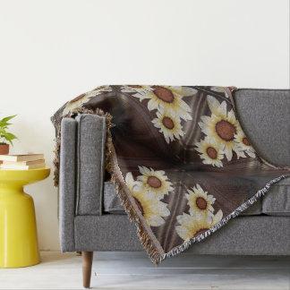 Daisies on brown throw blanket