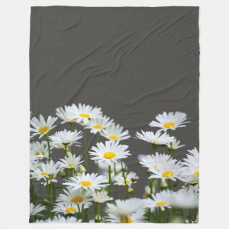 Daisies on Grey Fleece Blanket