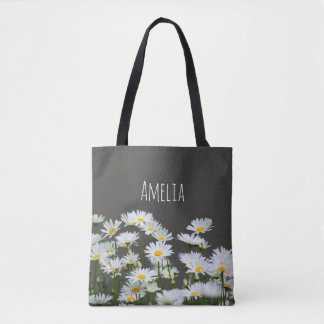 Daisies on Grey Tote Bag