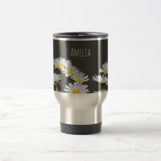 Daisies on Grey Travel Mug