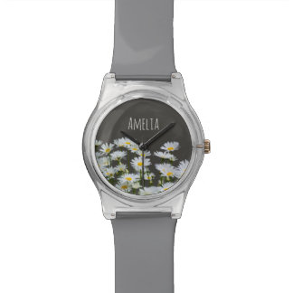 Daisies on Grey Wristwatches