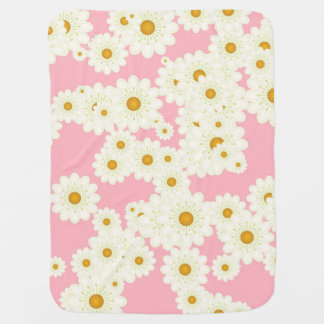 Daisies on pink baby blanket