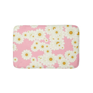 Daisies on pink bathroom mat