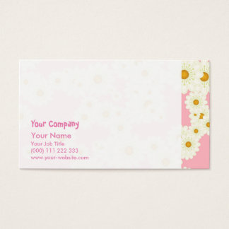 Daisies on pink business card
