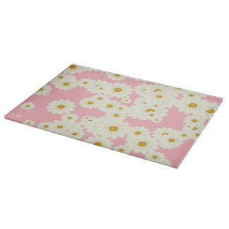 Daisies on pink cutting board