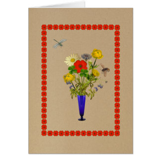 Daisies, poppies, cornflowers, buttercups bouquet card