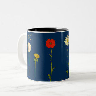 Daisies, poppies, dandelions and mushrooms Two-Tone coffee mug