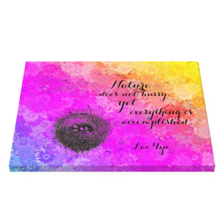 Daisies Rainbow Colors Bird's Nest w Lao Tzu Quote Canvas Print