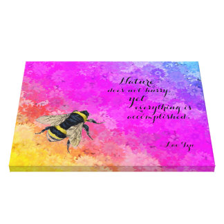 Daisies Rainbow Colors Bumblebee -Quote by Lao Tzu Canvas Print
