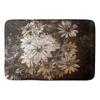 Daisies, Sepia, Grunge Bathroom Mat