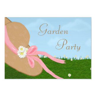 Daisies Straw Hat Garden Bridal Shower Invitation