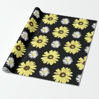 Daisies White Yellow on Black Wrapping Paper