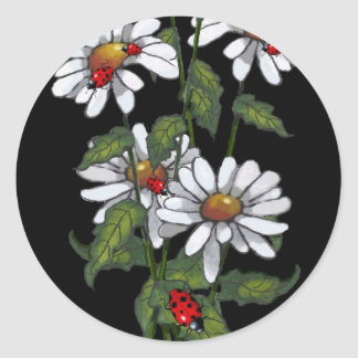 Daisies With Ladybugs on Black: Art Classic Round Sticker