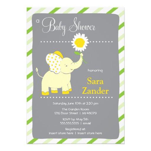 Daist Elephant  | Girl Baby Shower Invitation