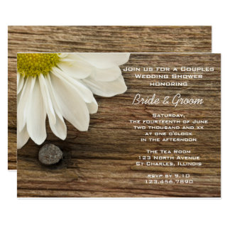 Daisy and Barn Wood Country Couples Wedding Shower Card