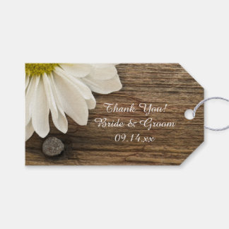 Daisy and Barn Wood Country Wedding Favor Tags