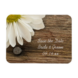 Daisy and Barn Wood Country Wedding Save the Date Magnet