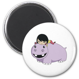 Daisy and Cookie the Hippo 2 Inch Round Magnet