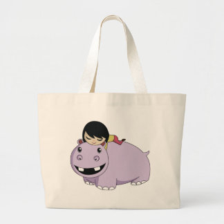 Daisy and Cookie the Hippo Large Tote Bag