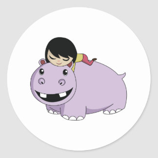 Daisy and Cookie the Hippo Round Sticker