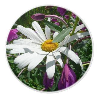 Daisy and Fireweed Ceramic Knob