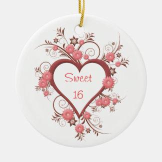 Daisy and Heart Sweet Sixteen Ceramic Ornament
