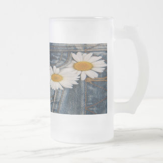 Daisy And Jeans Frosted Glass Beer Mug