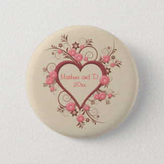 Daisy and Open Heart in Pink Intricate and Elegant 2 Inch Round Button
