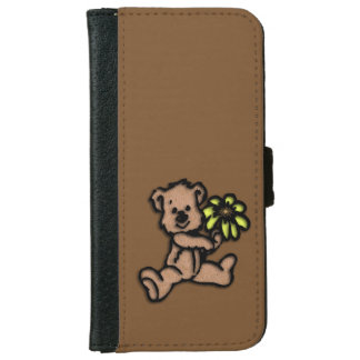 Daisy Bear Design Brown iPhone 6 Wallet Case