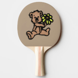 Daisy Bear Design Brown Ping-Pong Paddle
